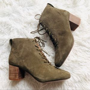 Madewell Olive Green Suede Lace Up Emilia Booties